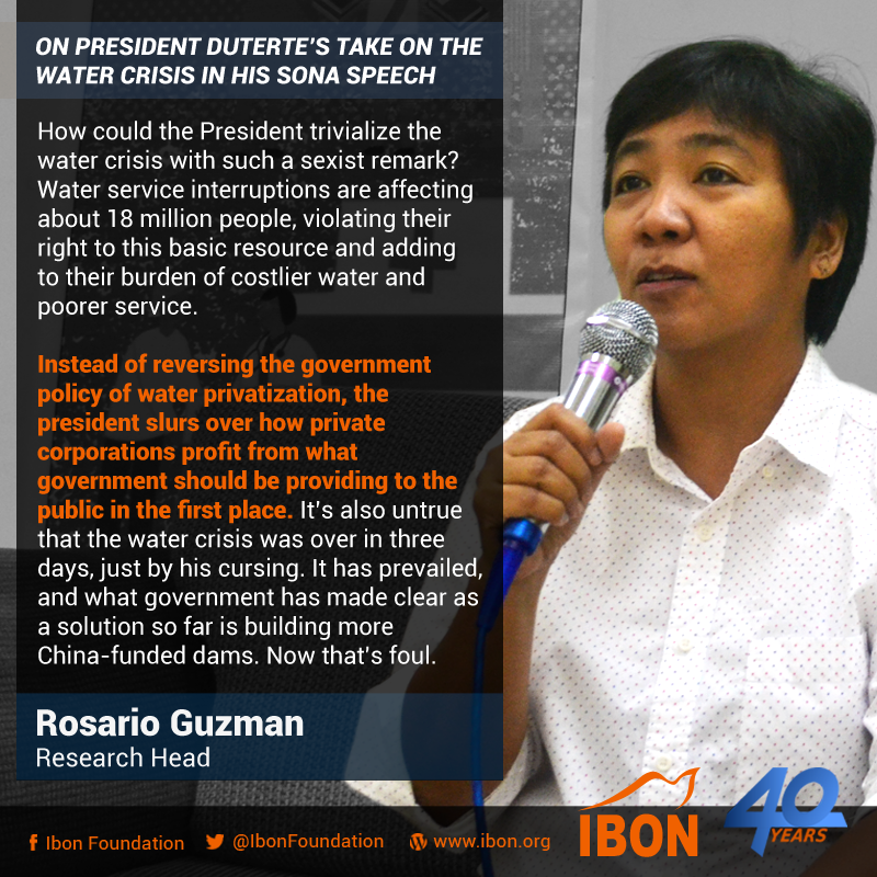 On President Duterte's take on the water crisis in his SONA